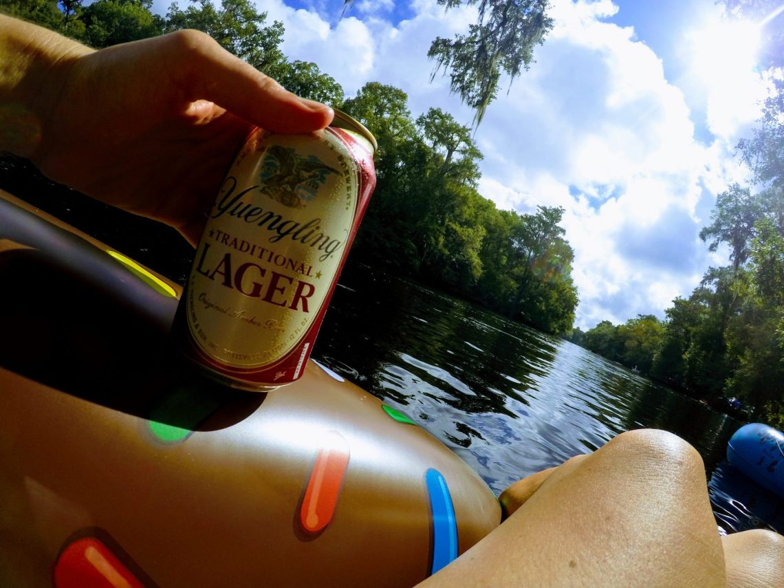 A beer along for the ride when floating down Ginnie Springs.