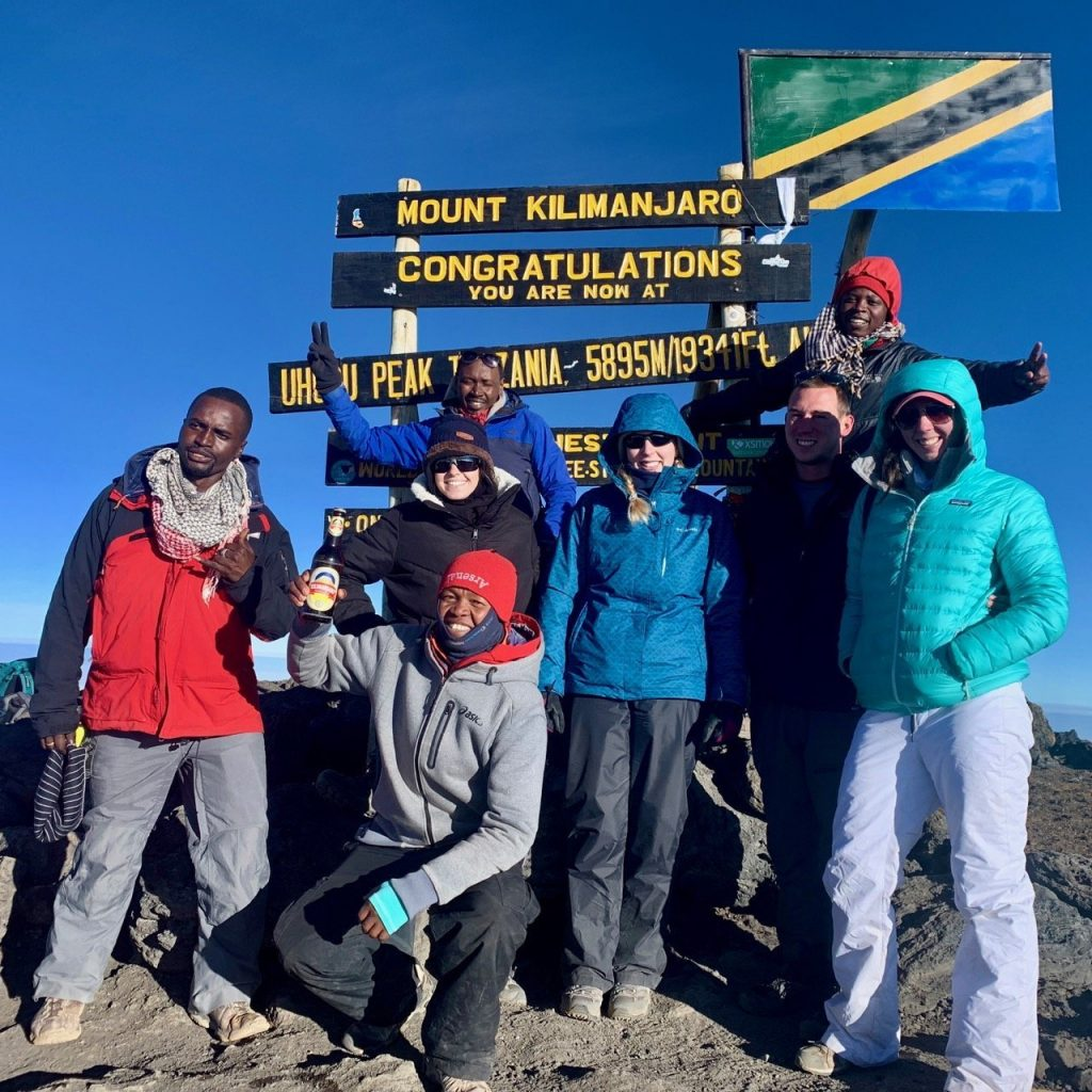Kilimanjaro Backcountry Adventures leading a group of hikers to the summit of Kilimanjaro